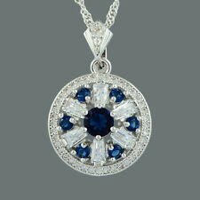 Brass CZ 18K White Gold Plated Blue Sapphire Round Cut Pendant Necklace Chain