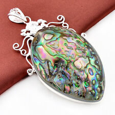 Gorgeous Genuine Huge Abalone Shell Gems Solid Silver Necklace Pendants