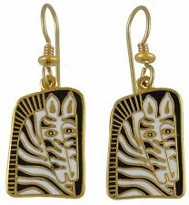 NEW! Laurel Burch ZEBRA MARE Gold Cloisonné Retired Enamel Earrings