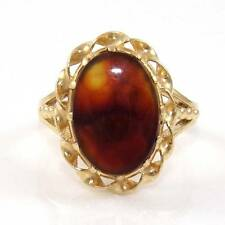 Vintage 14K Yellow Gold Fire Agate Solitaire Ring Size 7.5