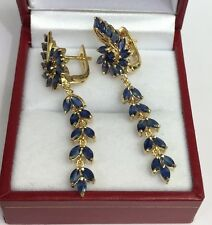 14k Solid Yellow Gold Cluster Dangle French Clip Earrings,Natural Sapphire 5.5CT