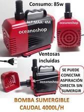 BOMBA SUMERGIBLE de 4000L/H 85W Para Acuario Fuente Estanque Hidroponia