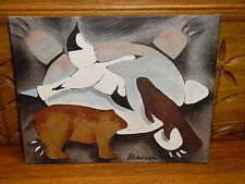 Oil Painting On Panel - Turtle Clan Totems Beaver Bear Goose - Barbara Beaucar