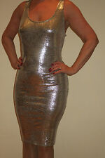 SEXY ADULT SILVER STRETCH EVENING DRESS 18 / 20 FETISH TV TRANSVESTITE TV CD