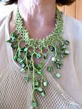 VTG-Contemporary Green Seed Bead Tassel Statement Necklace N/R