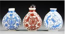 Three Peking Glass Snuff Bottles Used