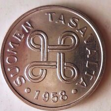 1958 FINLAND MARKKA - UNCIRCULATED - From Roll - Nickel/Iron Coin  FREE SHIPPING