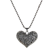 Fashion Girl Hollow Flower Heart Pendant Long Chain Necklaces 3 Color for Women