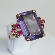 HEAVY ART DECO SOLID 14K GOLD 16+ ctw ALEXANDRITE w RUBY RING, 8.2 gms., size 5
