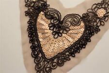 pretty light brown sequin applique love heart filigree unusual collar trim yoke
