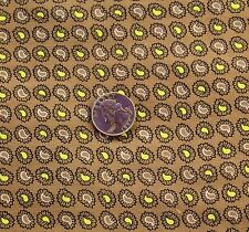 Vintage Brown Paisley Cotton Fabric Lot of 4 Sewing Quilting