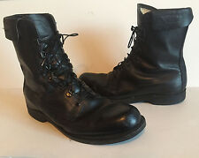 Mens Vintage 1983 ADDISON Black Leather Military Combat Biker Boots Size 10.5 D