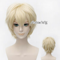 Hot Sale Anime Light Blonde Cosplay Short Men Women Party Hair Wig + Wig Cap