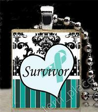 Teal Ribbon Scrabble Tile Pendant Ovarian Cancer Survivor Support S4