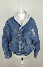 VTG OVERSIZED TRUCKER ACID WASH DISTRESSED SHERPA LINED UNISEX DENIM JACKET UK M