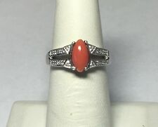 Brand New Sterling Silver Genuine 9.5mm x 5mm Marquise Pink Coral/Diamond Ring