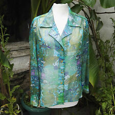 Blouse, 1970's Vintage, by St. Michael, Green, Abstract, Retro see through