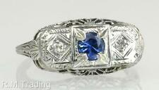 Antique Art Deco 18K Gold .42ct Genuine Diamond & Sapphire Engagement Ring $1225