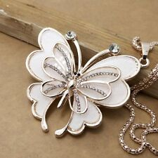 New Betsey Johnson RGP Crystal White Butterfly Necklace