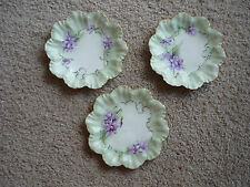 "3 ANTIQUE CABINET/WALL PLATES 7""/ A LANTERNIER/ LIMOGES FRANCE"