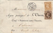 1869 Lettre/Cover France n°28&30 CaD Paris Pl.De La Bourse    Colmar Brief