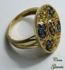Multi-Colored Diamonds 10 KT Yellow Gold TGGC Signed 9SQ Cluster Ring CR 375