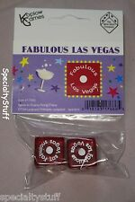 """NEW 1 PAIR FABULOUS LAS VEGAS DICE PKG'D 19mm RED WITH WHITE NUMBERS 3/4"""" 1-6 EG"""