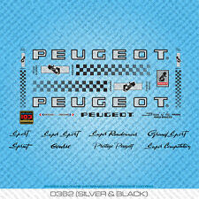 Peugeot PX/PY10 Bicycle Decals - Transfers - Stickers - Silver & Black - Set 362