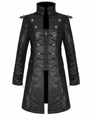 Punk Rave Mens Steampunk Jacket Coat Black Goth Punk Faux Leather Military