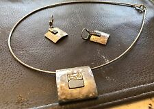"""Sterling Silver &10kYellow Gold Necklace 20"""" & Earrings by Isreal designer MJZ"""