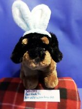 Beat Made Toys Rottweiler with Blue Bunny/Rabbit Ears plush(310-1599)