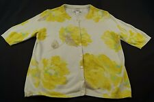 Liz Claiborne Knitted Short Sleeve Cardigan Silk Blend Top Sweater Floral Lrg