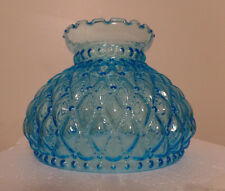 """NEW 7"""" Diamond Quilted Light Blue Glass Oil Student Lamp Shade Crimp Top  #PS663"""