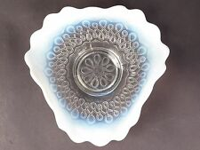 GORGEOUS VINTAGE PRESSED CLEAR GLASS BOWL w/MILK GLASS RUFFLED EDGE
