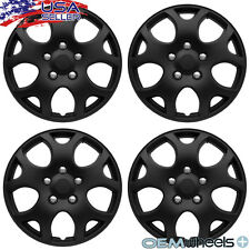 "4 NEW OEM MATTE BLACK 16"" HUB CAPS FITS HONDA SUV CAR JDM CENTER WHEEL COVER SET"