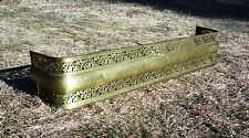 "Antique 19th C Pierced Brass Fireplace Fender Long 56"" Fire Screen Surround"