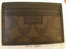 NWT Coach 74759 Men Sig Chelsea Heritage Slim Card Case Wallet Mahogany Brown
