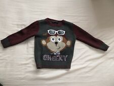 George Girls Red & Grey Long Sleeve Cheeky Cardigan Jumper Size 12-18 Months