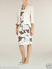 New Jacques Vert dress UK 16 floral Shantung shift wedding brown Ivory pink SS14