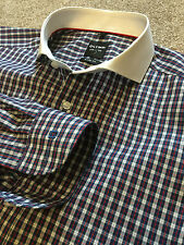 Splendido Olymp livello 5 Body Fit quadretti Camicia White collar 15.5 costo £ 90