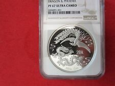 1990 China Chinese 20 Yuan 2oz Silver Dragon & Phoenix NGC PF67UC