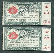 1950 Rose Bowl football ticket lot of 2 California Bears v Ohio State Buckeyes