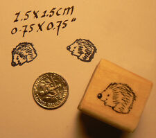 """Miniature rubber stamp Hedgehog 0.5x0.6"""" Wood Mounted"""