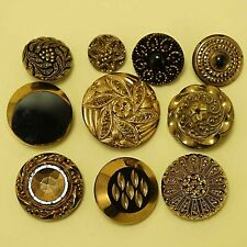 Stunning Lot 10 Different Vintage French Jet Black Glass & Gold Antique Buttons