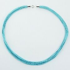 Choker necklace aqua-blue cotton 925 silver polished clasps 12 woven strands new