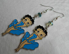 Handmade silver plated Betty Boop earrings Betty in blue dress free stoppers