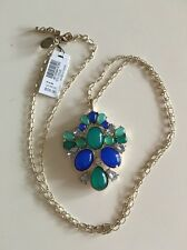 NWT White House Black Market Blue & Green Long Statement Necklace