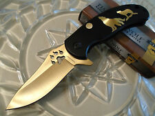 "Timber Wolf Assisted Open Black Gold Titanium Tactical Pocket Knife TW496 7"" Op"