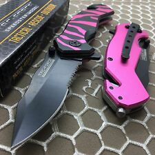 Tac Force Black/Pink Tiger Stripe Outdoor Camping Rescue Survival Pocket Knife