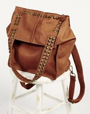 NWT Free People Nala Russo brown rust leather Studded Backpack Tote Shoulder Bag